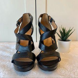 Nine West Open Toe Strappy Black Heels